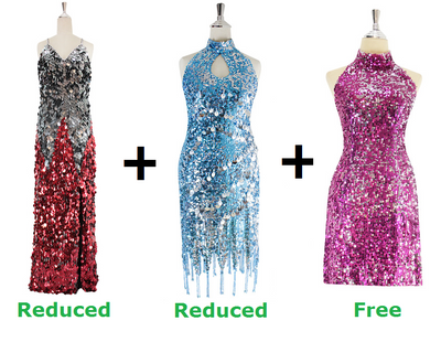 Buy 1 Long Handmade and 1 Short Sequin Fabric Dress With Discounts On Each & Get 1 Short Sequin Fabric Dress Free (SPCL-087)