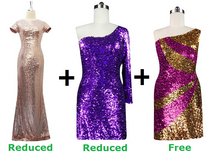 Buy 1 Long Sequin Fabric and 1 Short Sequin Fabric Dress With Discounts On Each & Get 1 Short Sequin Fabric Dress Free (SPCL-088)