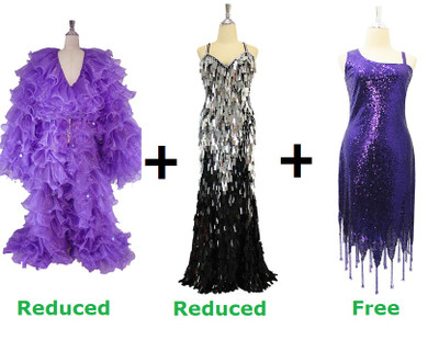 Buy 1 Organza Ruffle Coat and 1 Handmade Sequin Dress With Discounts On Each & Get 1 Short Sequin Fabric Dress Free (SPCL-089)