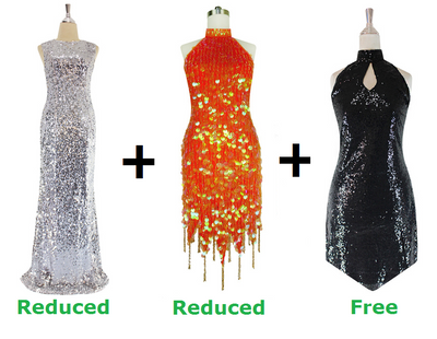 Buy 1 Long Fabric Gown and 1 Short Handmade Sequin Dress With Discounts On Each & Get 1 Short Sequin Fabric Dress Free (SPCL-091)