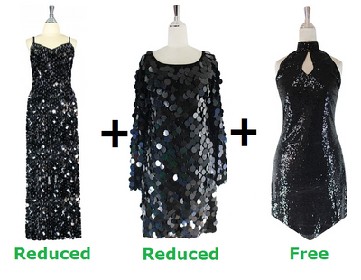 Buy 1 Long Handmade Gown and 1 Short Handmade Dress With Discounts On Each & Get 1 Short Sequin Fabric Dress Free (SPCL-093)