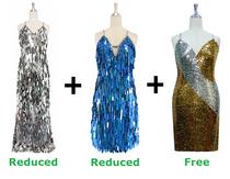 Buy 1 Long & 1 Short Handmade Dress With Discounts On Each & Get 1 Short Sequin Fabric Dress Free (SPCL-095)