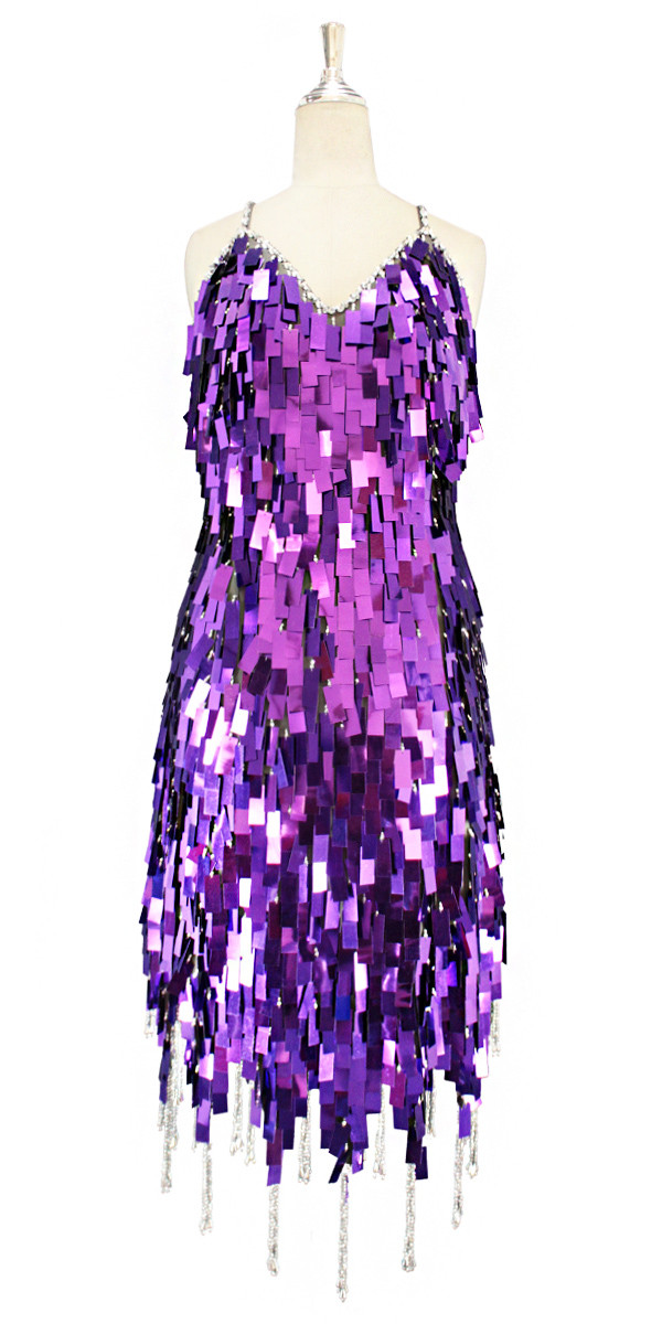 69282f753123 A short handmade sequin dress, in rectangular metallic purple paillette  sequins with silver faceted beads