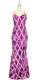 A long handmade sequin dress in flat metallic fuchsia sequins and silver sequin and pattern pattern throughout with a classic flared hemline cut front view
