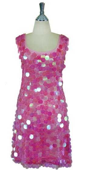Short Handmade 30mm Paillette Hanging Iridescent Pink Sequin Sleeveless Dress with U Neck front view
