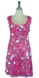 Short Handmade 30mm Paillette Hanging Iridescent Pink Sequin Sleeveless Dress with U Neck front view