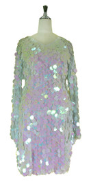 Short Handmade 30mm Paillette Hanging Iridescent Pinky White Sequin Dress with V Neck and Oversized Sleeves front view