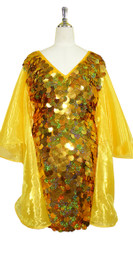 Short Handmade 30mm Paillette Hanging Hologram Gold Sequin Dress with V Neck and Oversize Organza Sleeves Front View