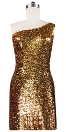 Sequin Fabric Short Dress in Gold with One Shoulder Cut Front View