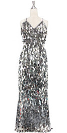 A long handmade sequin dress, in unique tear-drop shape metallic silver paillette sequins with silver faceted beads and a luxe grey fabric background in a classic cut front view
