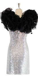 Short Silver Sequin Fabric Dress With Black Ruffles At Neckline Front View