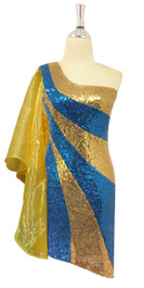 Short Turquoise And Gold Sequin Fabric Dress With One Shoulder Gold Ruffle Sleeve