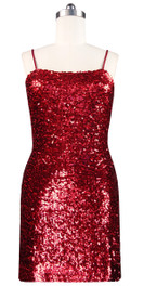 Sequin Fabric Short Dress in Red Front View