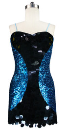 Short patterned dress in blue and black sequin spangles fabric with highlight paillettes sequins front view