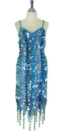 Short Patterned Handmade Paillette Sequin Dress in Blue and silver with Jagged and Beaded Hemline front view