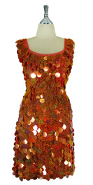 Short Handmade 30mm Paillette Hanging Hologram Copper Sequin Sleeveless Dress with U Neck front
