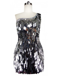Short Handmade Rectangular Paillette Hanging Metallic Silver Sequin Dress with One-shoulder Cut front view