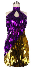 Short Handmade Rectangle Paillette Sequin Dress in Metallic Purple and Gold and with a sweetheart neckline in front view