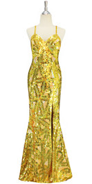A long handmade sequin dress, in 10mm flat sequins with beads in metallic gold, hologram gold and light pearl peach geometric pattern dress front view
