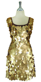 Short Handmade 30mm Paillette Hanging Gold Sequin Sleeveless Dress with U Neck Front view