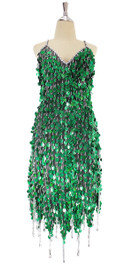 A short handmade sequin dress, in metallic hologram emerald green paillette sequins with silver beads front view