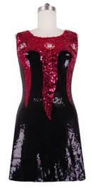 Short patterned dress with U-shaped neckline in black and fuchsia sequin spangles fabric front view
