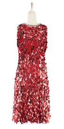 Short handmade sequin dress, in 20mm metallic red paillette sequins with silver faceted beads, a luxe grey fabric background and a low-cut cowl back front view.