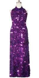 Long Handmade Paillette Sequin Gown in Metallic Purple with Chinese Collar Front View