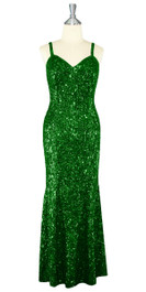 Long Handmade 8mm Cupped Sequin Dress in Metallic Emerald Green front view