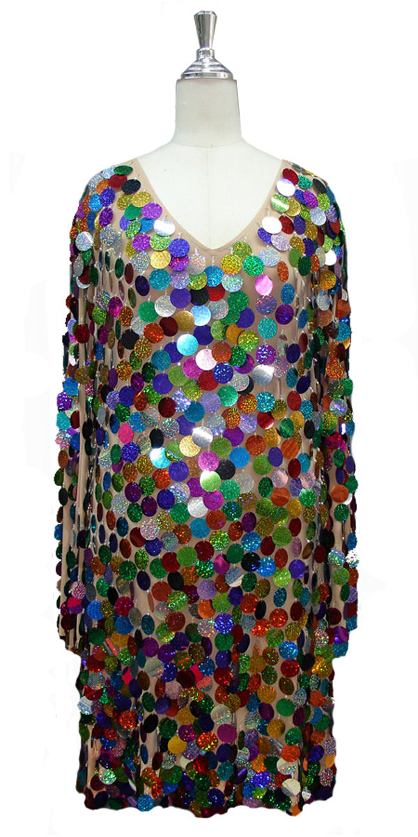 00f99007aea6 Short Handmade Hologram Multicolored Paillette Sequin Dress with Long  Sleeves front view