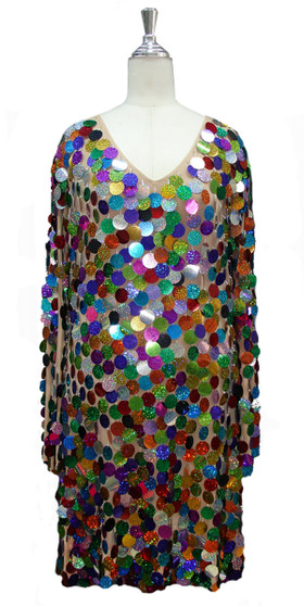 Short Handmade Hologram Multicolored Paillette Sequin Dress with Long Sleeves front view