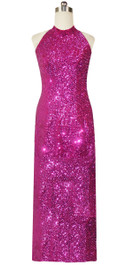 Long Chinese Collar Handmade 8mm Cupped Sequin Dress in Metallic Fuchsia Front View