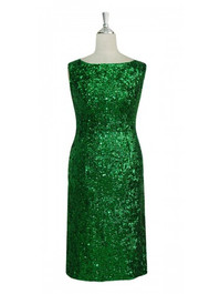Short Handmade 8mm Cupped Sequin Dress in Metallic Emerald Green front view