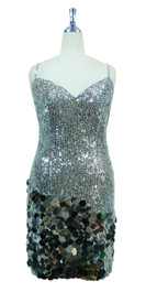 ab33abeb Short Handmade 8mm Cupped Sequin Dress in Metallic Silver with Paillette Sequin  Silver front view