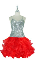 Short Handmade 8mm Cupped Sequin Dress in Metallic Silver with Red Organza Ruffled Hemline front view