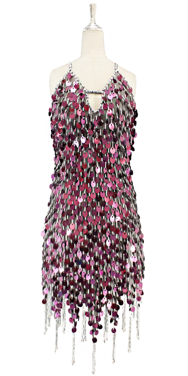 e0bdaf6c7798 Short handmade sequin dress in metallic dark pink sequins with silver  faceted beads, a luxe grey fabric backround and a jagged, beaded hemline