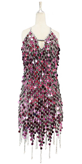 Short handmade sequin dress, in 20mm metallic dark pink sequins with silver faceted beads, a luxe grey fabric backround and a jagged, beaded hemline front view