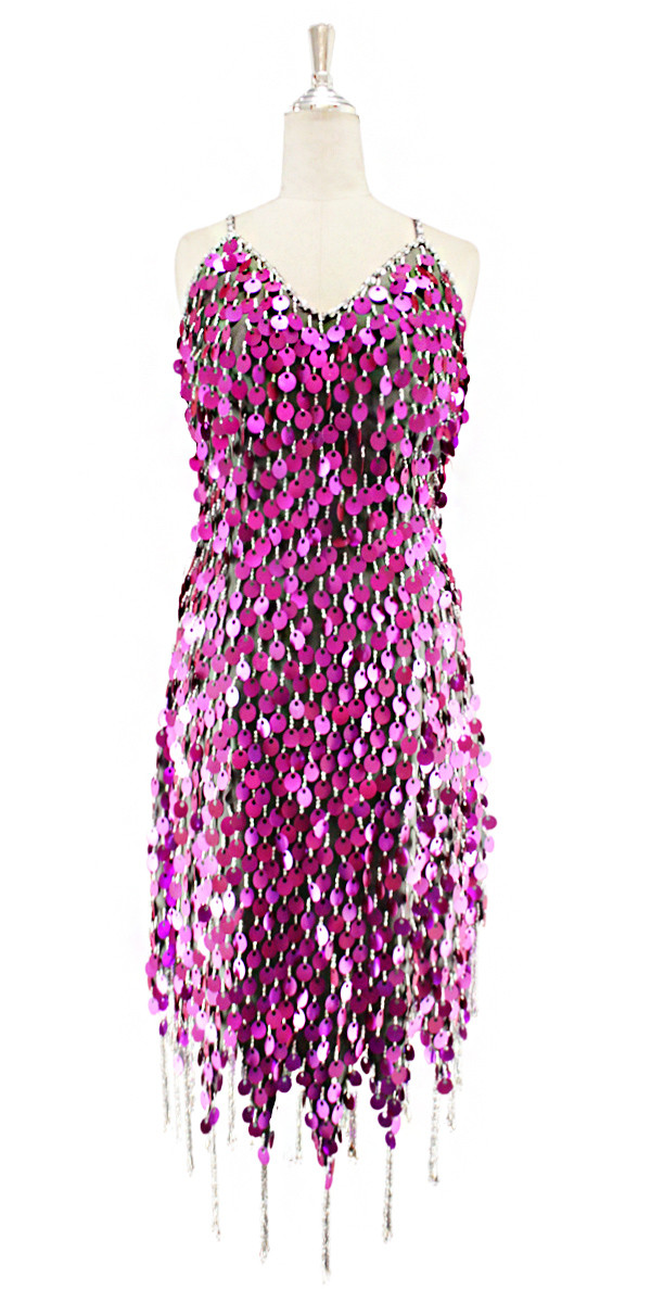 95bfc230d7bb Short handmade sequin dress, in metallic fuchsia paillette sequins with silver  faceted beads, a luxe grey fabric background and a jagged beaded hemline