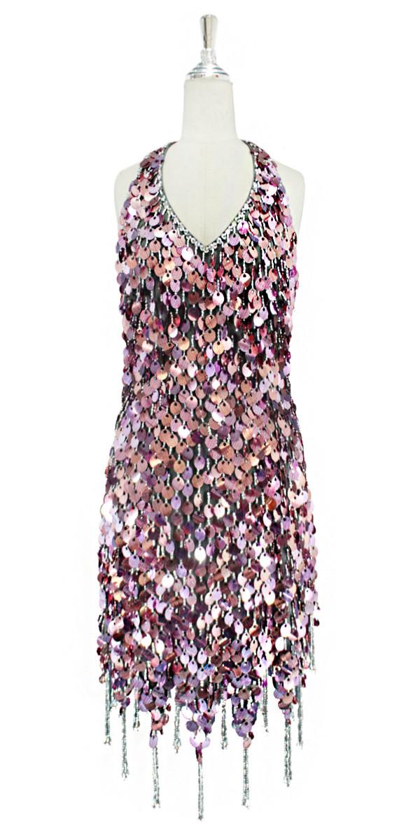 9f203a724e83 Short handmade sequin dress, in metallic striated fuchsia paillette sequins  halter-neck and a jagged beaded hemline