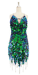 Short handmade sequin dress, in iridescent green paillette sequins with silver faceted beads, a luxe grey fabric background and jagged, beaded hemline front view