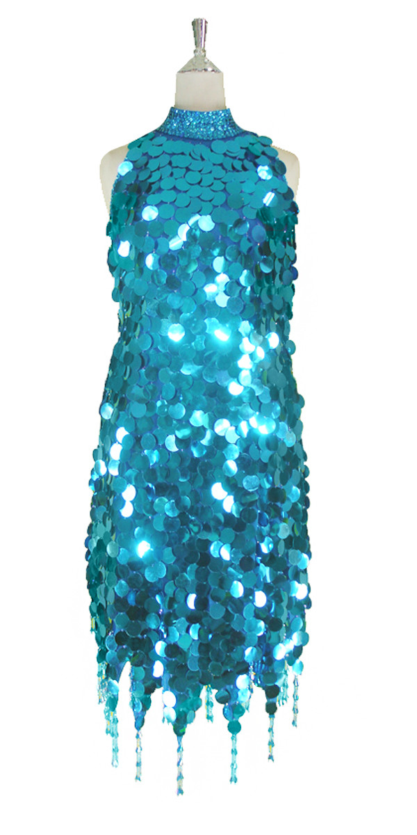 43754798e56 Short Handmade 30mm Paillette Hanging Metallic Turquoise Sequin Dress with  Chinese Collar and Jagged