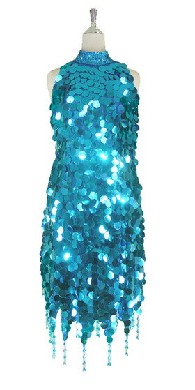 Short Handmade 30mm Paillette Hanging Metallic Turquoise Sequin Dress with Chinese Collar and Jagged, Beaded Hemline front view