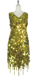 Short Handmade 30mm Paillette Hanging Metallic Gold Sequin Dress with Jagged, Beaded Hemline front view