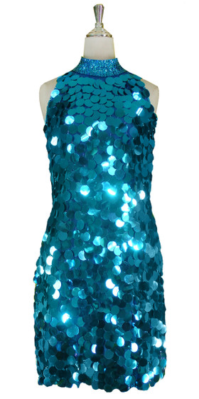 Short Handmade 30mm Paillette Hanging Metallic Turquoise Sequin Dress with Chinese Neckline front view
