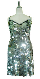 Short Handmade 30mm Paillette Hanging Metallic Silver Sequin Dress front view
