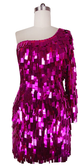 Short Handmade Rectangular Paillette Hanging Metallic Fuchsia Sequin Dress with One-sleeve Cut front view