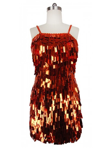 Short Handmade Rectangular Paillette Hanging Metallic Copper Sequin Dress front view