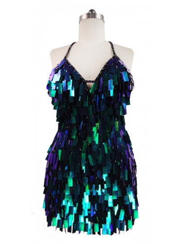 Short Handmade Rectangular Paillette Hanging Metallic Iridescent Dark Green Sequin Dress front