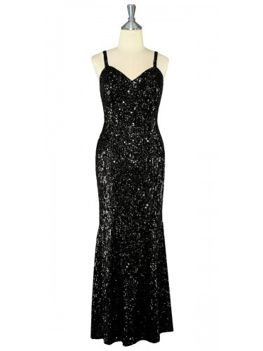 a750be79fac7 Long Dress | Handmade | 8mm Cupped Sequin Spangles | Black | SequinQueen