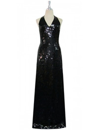 Long Handmade 10mm Flat Sequin Halter Neck Gown in Black front view